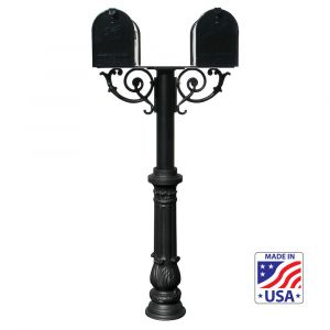 The Hanford TWIN mailbox post system w/Scroll Supports and ornate base