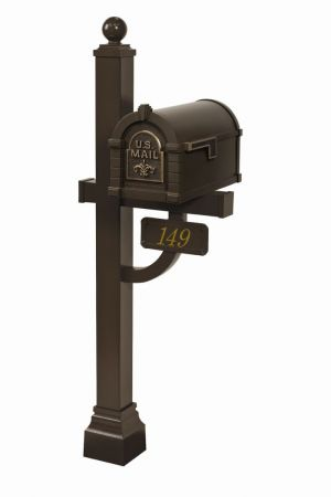 Gaines Fleur de Lis Keystone Residential Mailbox and Deluxe Post