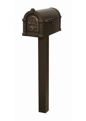Gaines Fleur de Lis Keystone Residential Mailbox and Standard Post