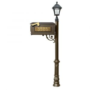 Lewiston Mailbox and Lewiston Post with 3 Address Plates (Sides, Front), Support Brace and Ornate Base, with Black Bayview Solar Lamp
