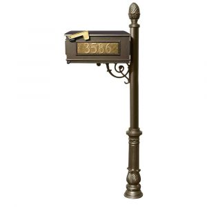 Lewiston Mailbox and Lewiston Post (with Ornate Base and Pineapple Finial), with 3 Address Plates (Sides, Front) and Support Brace