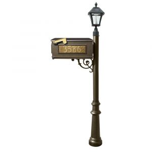 Lewiston Mailbox and Lewiston Post with 3 Address Plates (Sides, Front), Support Brace and Fluted Base, with Black Bayview Solar Lamp