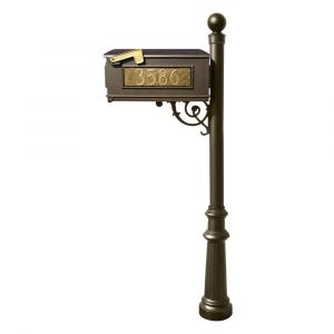 Lewiston Mailbox and Lewiston Post (with Fluted Base and Ball Finial), with 3 Address Plates (Sides, Front) and Support Brace