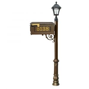 Lewiston Mailbox and Lewiston Post with Vinyl Numbers, Support Brace, and Ornate Base, with Black Bayview Solar Lamp