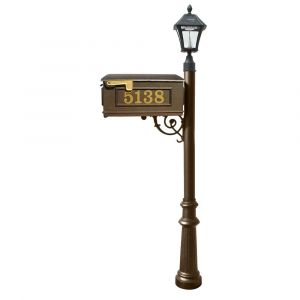 Lewiston Mailbox and Lewiston Post with Vinyl Numbers, Support Brace, and Fluted Base with Black Bayview Solar Lamp