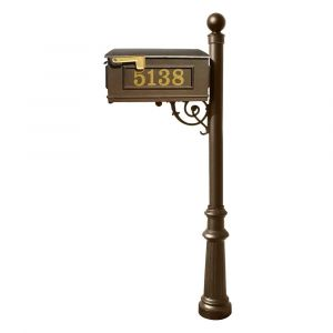 Lewiston Mailbox and Lewiston Post (with Fluted Base and Ball Finial), with Vinyl Numbers and Support Brace