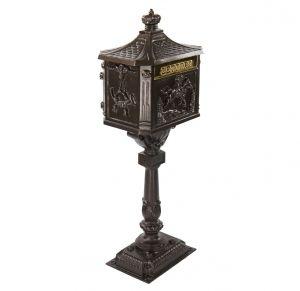 Amco Victorian Pedestal Locking Mailbox in Textured Bronze