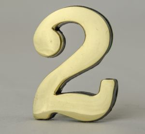 2 Inch Brass Number Two with Self Adhesive Back
