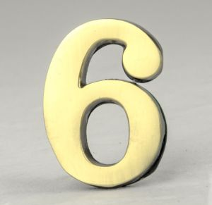 2 Inch Brass Number Six with Self Adhesive Back