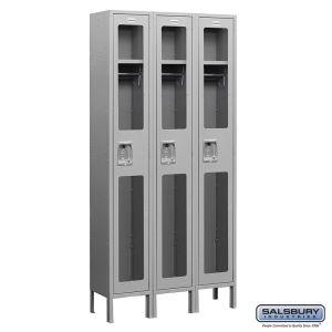 See-Through Metal Locker - Single Tier - 3 Wide - 6 Feet High - 18 Inches Deep - Choose Color
