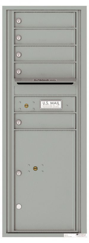 Versatile Front Loading Commercial Mailbox with 5 Tenant Compartments and 1 Parcel Locker - Single Column