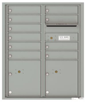 Recessed Apartment Mailbox with 10 Tenant Compartments and 2 Parcel Lockers