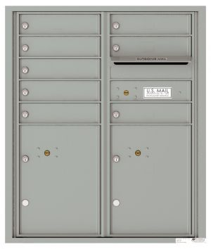 Recessed Apartment Mailbox with 8 Tenant Compartments and 2 Parcel Lockers