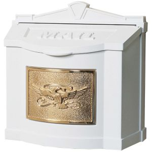 white-with-polished-brass-classic-mailbox-top