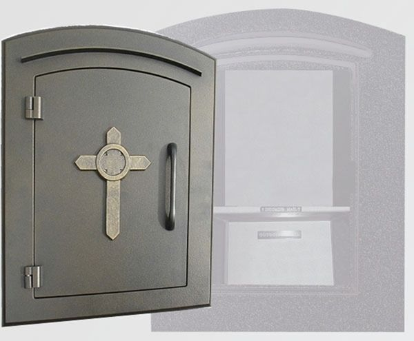 Manchester Security Locking Column Mount Mailbox With Decorative Cross Emblem Stucco Column Not Included