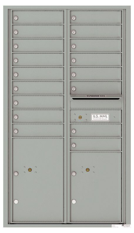 Commercial Mailbox With 17 Tenant Doors And 2 Parcel Lockers