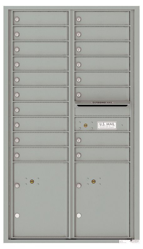 Commercial Mailbox With 18 Tenant Doors And 2 Parcel Lockers