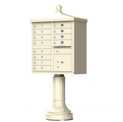 Cluster Box Unit  With Finial Cap and Traditional Pedestal Accessories -12 Compartments
