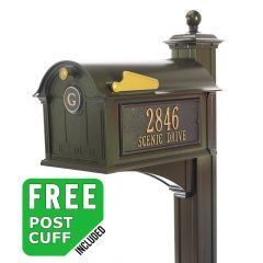 Whitehall Balmoral Residential Streetside Monogram Mailbox and post