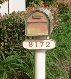 Streetscape mailbox and post standard with address plate
