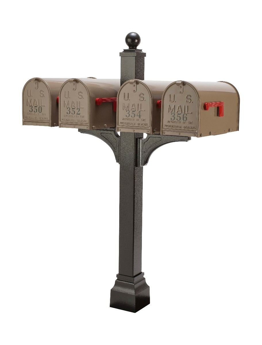 Janzer Multi-Mount Quad Mailbox Post (Optional Mailboxes Available)