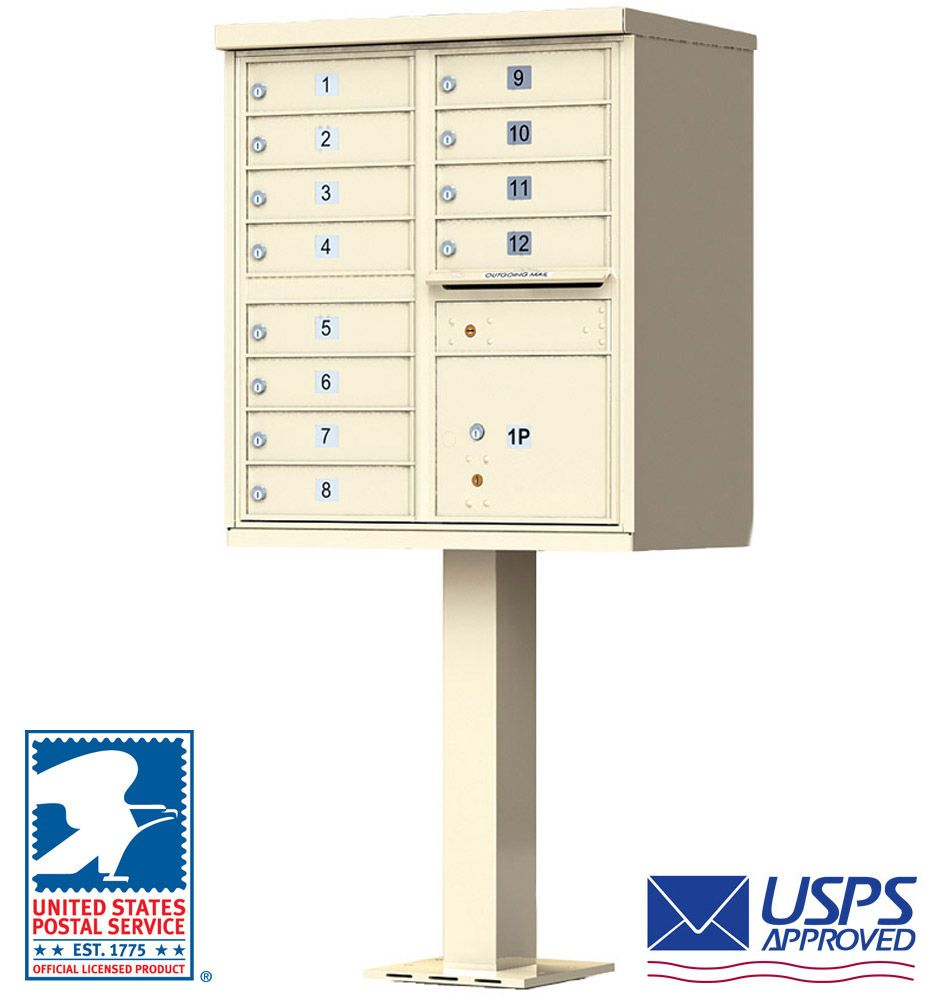 12 Tenant Door CBU Mailbox - USPS Approved (Includes Pedestal)