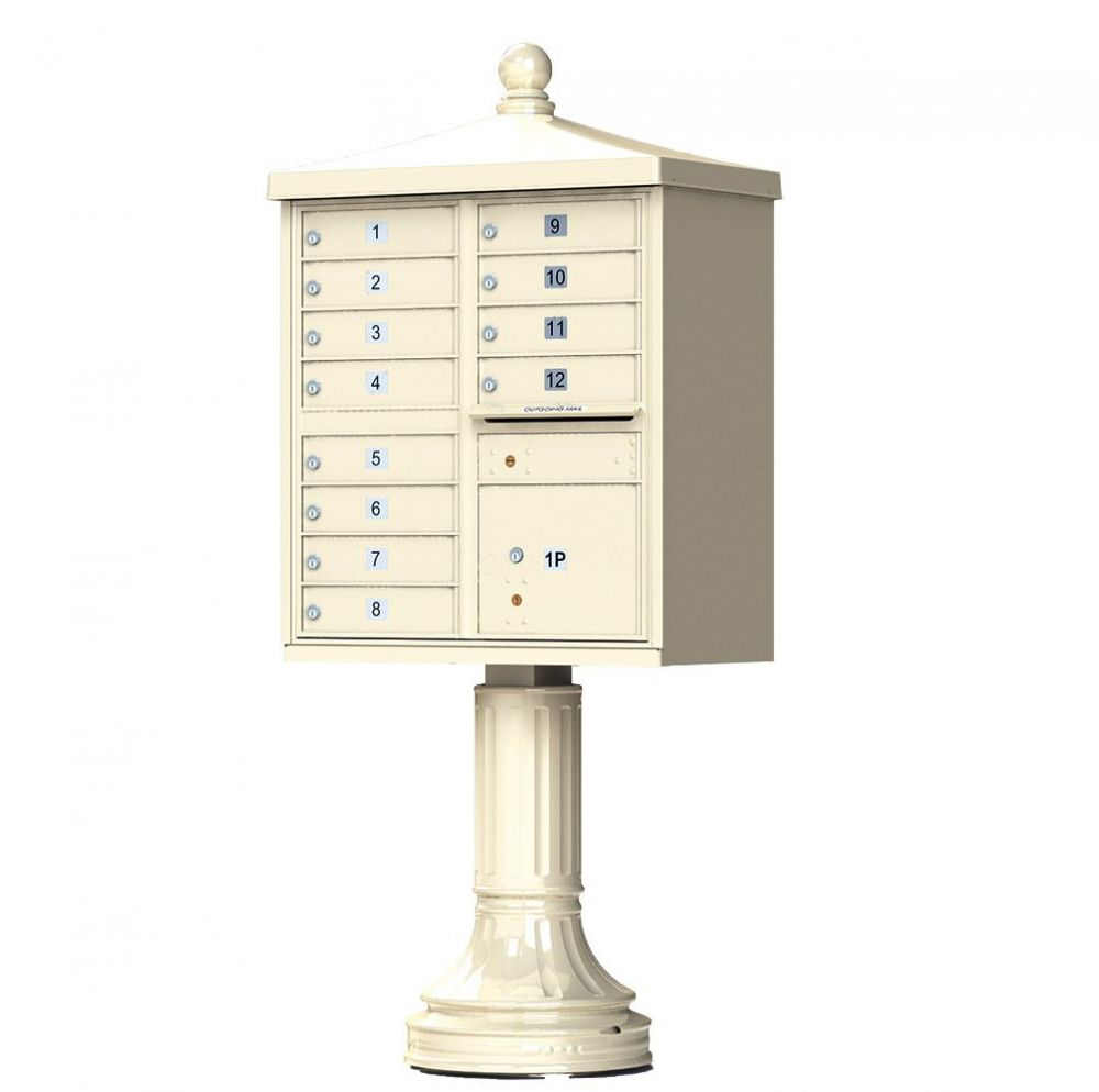 Cluster Box Unit With Finial Cap and Traditional Pedestal -12 Compartments