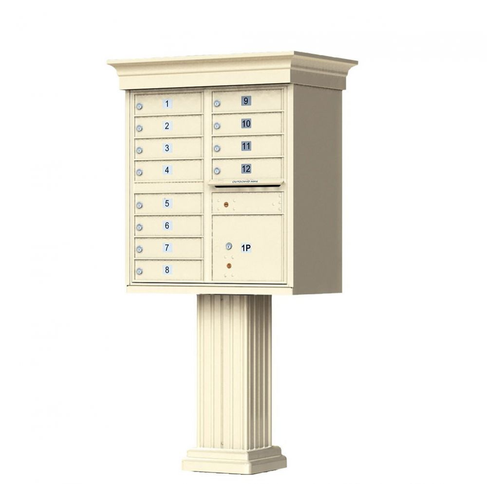Decorative Cluster Mailbox with Crown Cap and Pillar Pedestal - 12 Compartments