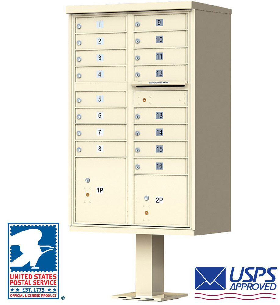 16 Tenant Door Standard High Security CBU Mailbox (Pedestal Included) - USPS Approved