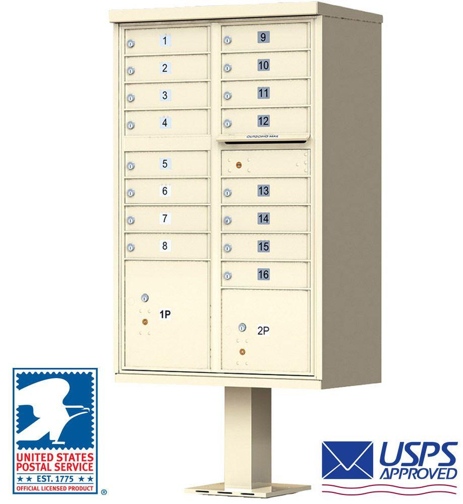 16 Door CBU Cluster Mailbox - USPS Approved (Includes Pedestal)