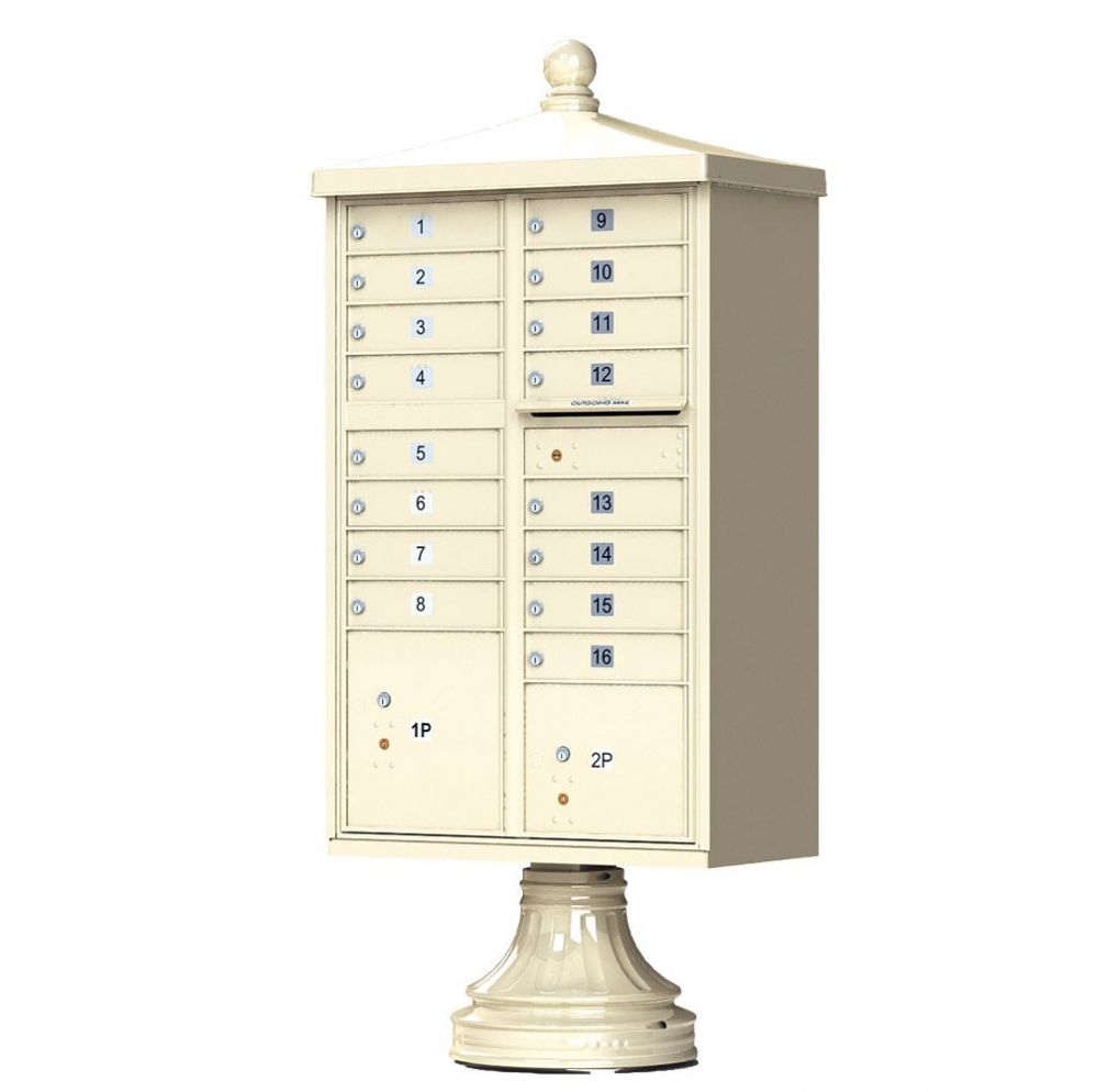 Cluster Box Unit With Finial Cap and Traditional Pedestal -16 Compartments