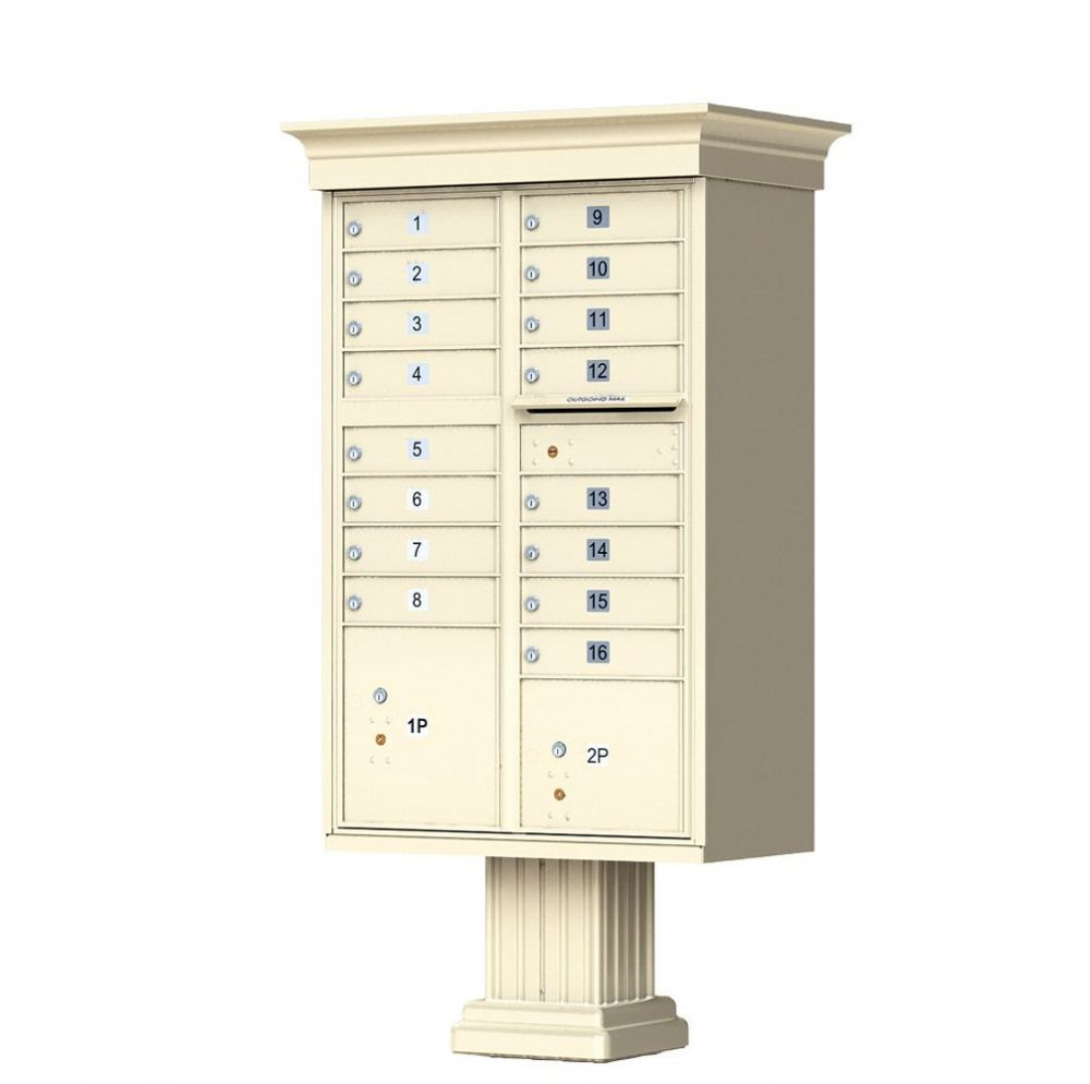 Decorative Cluster Mailbox with Crown Cap and Pillar Pedestal - 16 Compartments