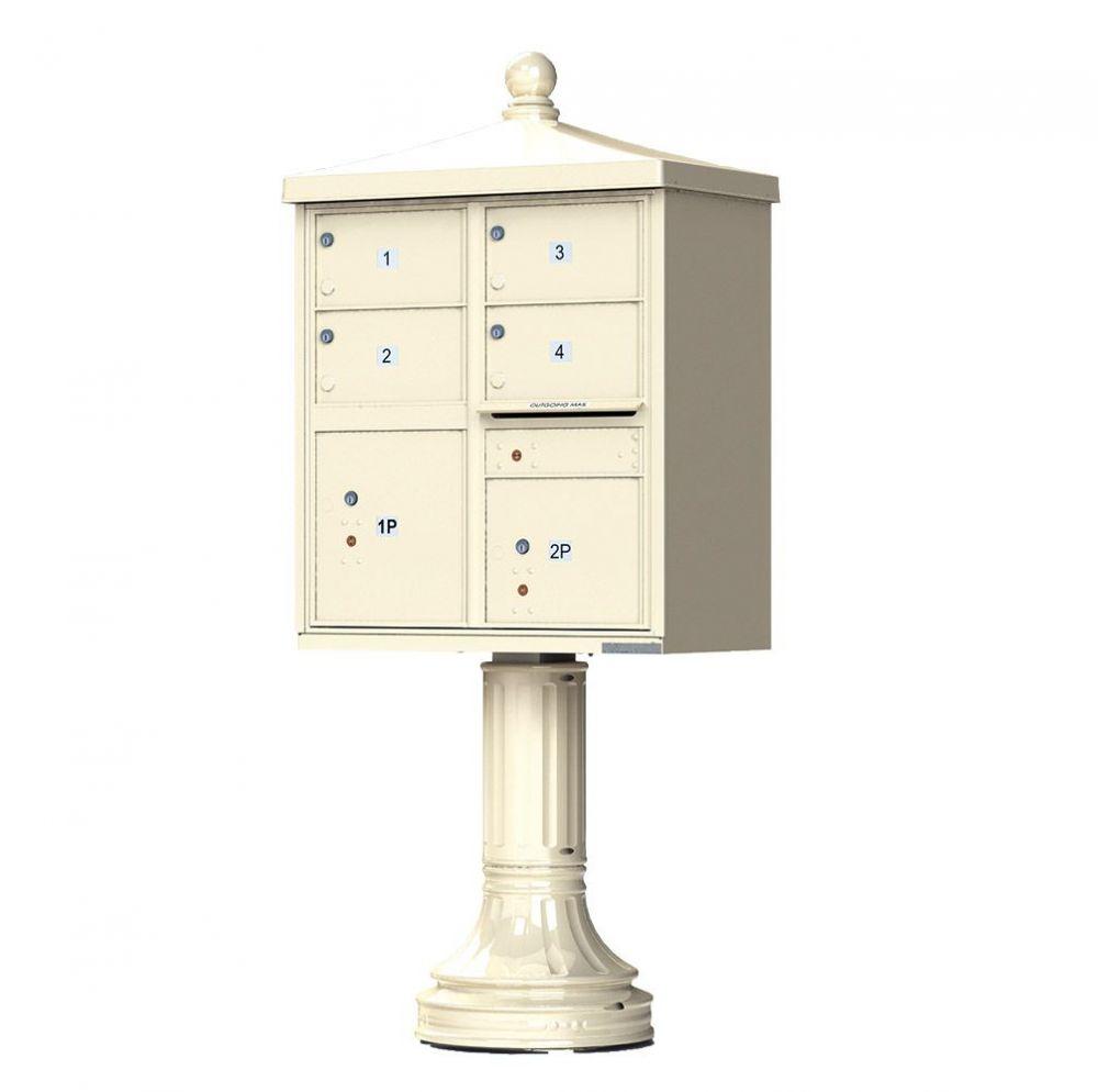 Decorative Traditional 4 Door CBU Mailbox with Extra Large Tenant Doors - (Includes Pedestal)
