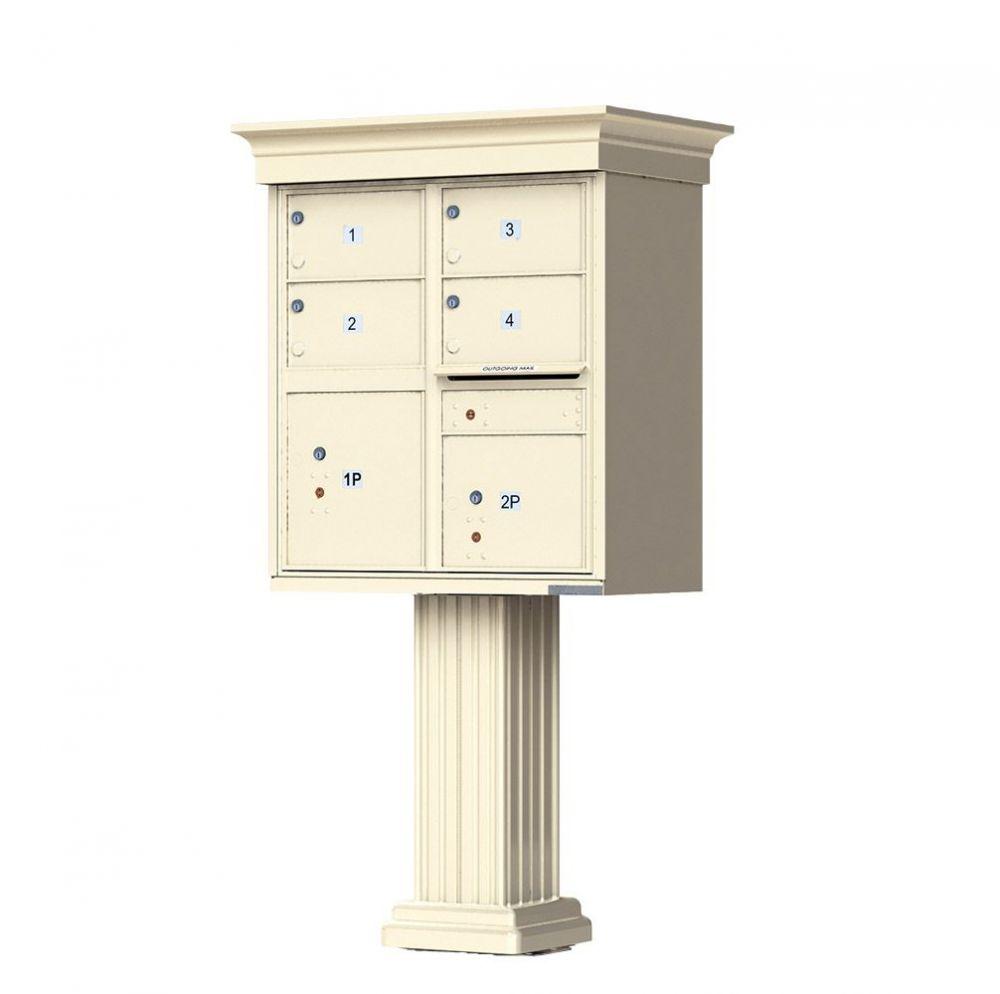 Decorative Crown Cap 4 Door CBU Mailbox with Extra Large Tenant Doors - (Includes Pedestal)