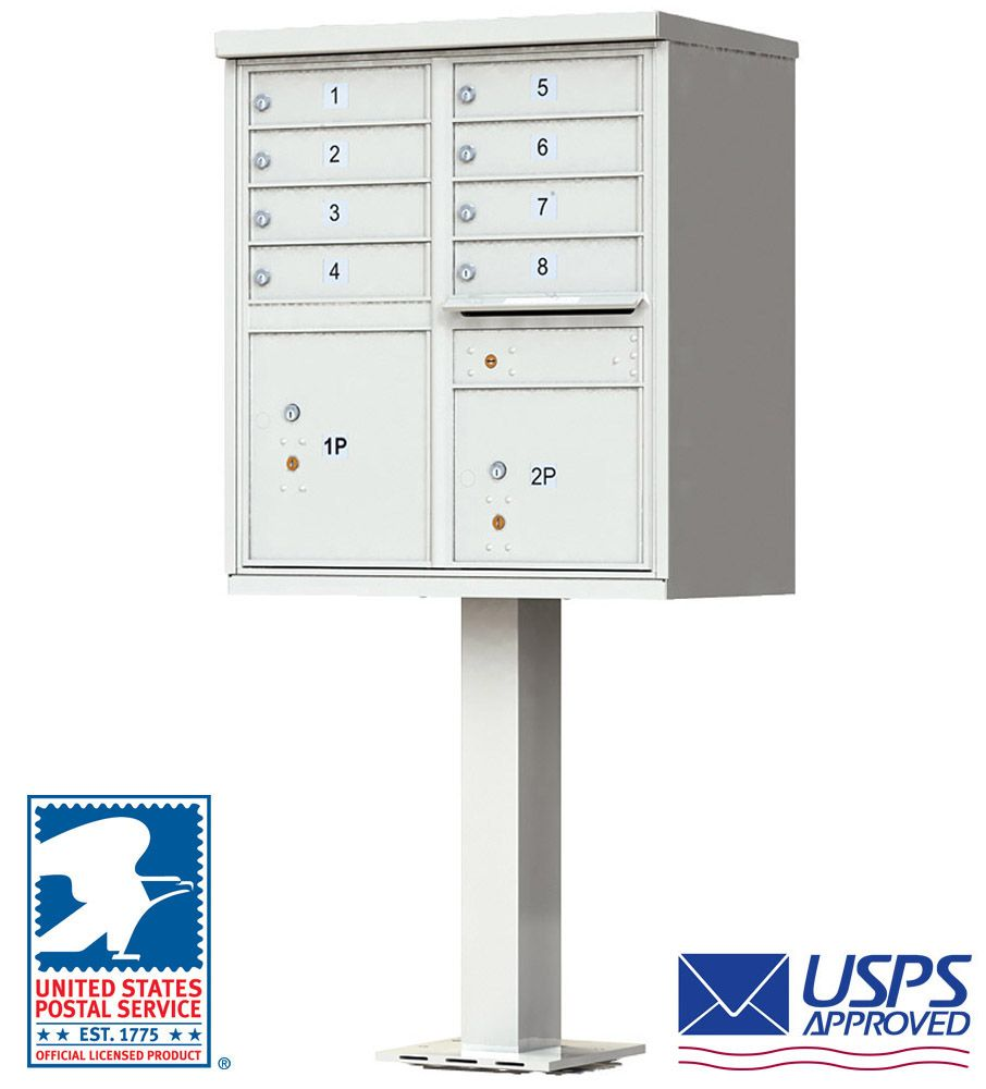 High-Security Pedestal CBU Mailbox - 8 Tenant Doors