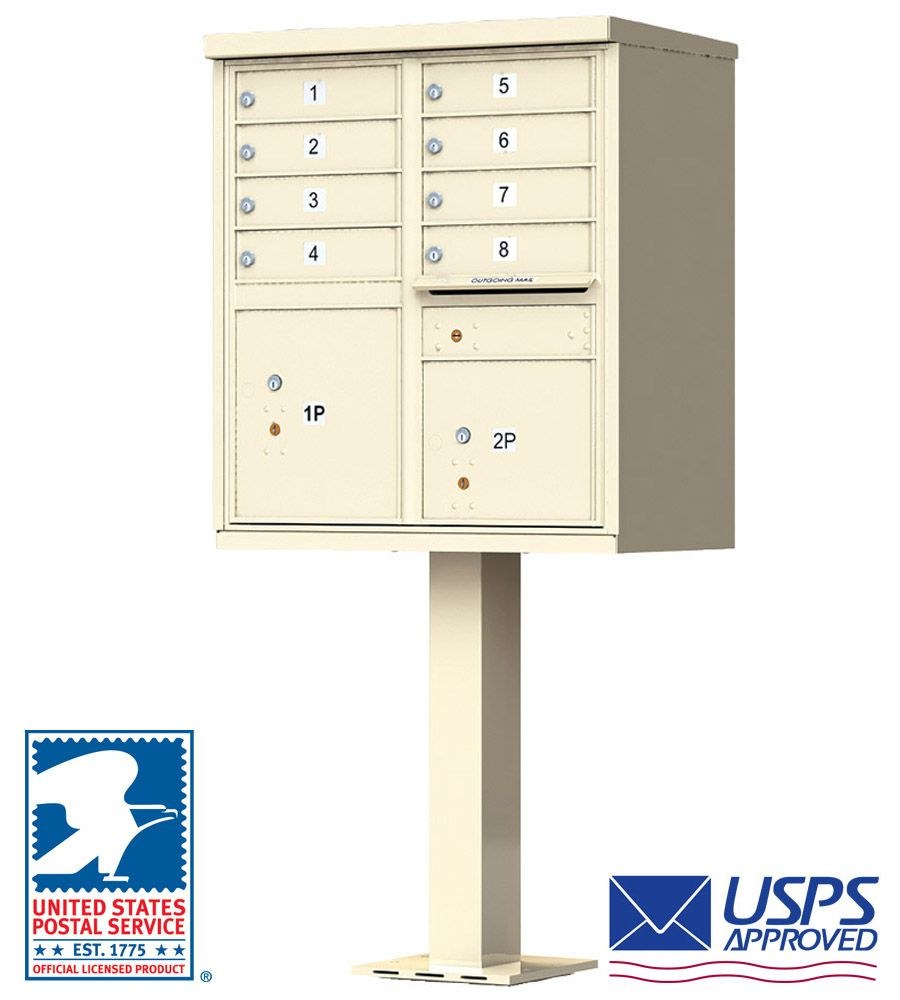 8 Tenant Door Standard High Security CBU Mailbox (Pedestal Included) - USPS Approved