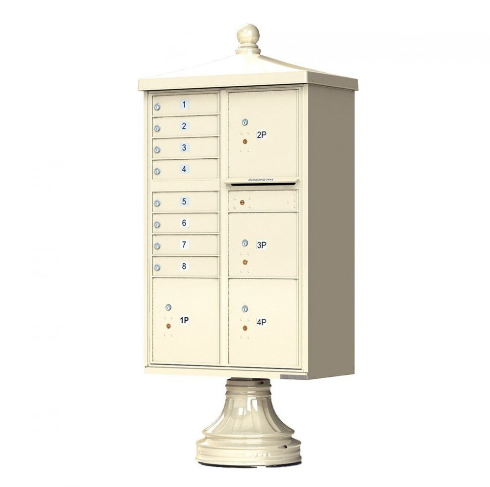 Decorative Traditional 8 Door Cluster Mailbox with 4 Parcel Lockers (Includes Pedestal)