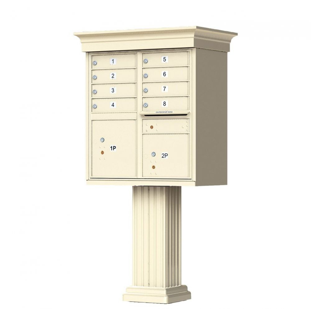Decorative Cluster Mailbox with Crown Cap and Pillar Pedestal - 8 Compartments