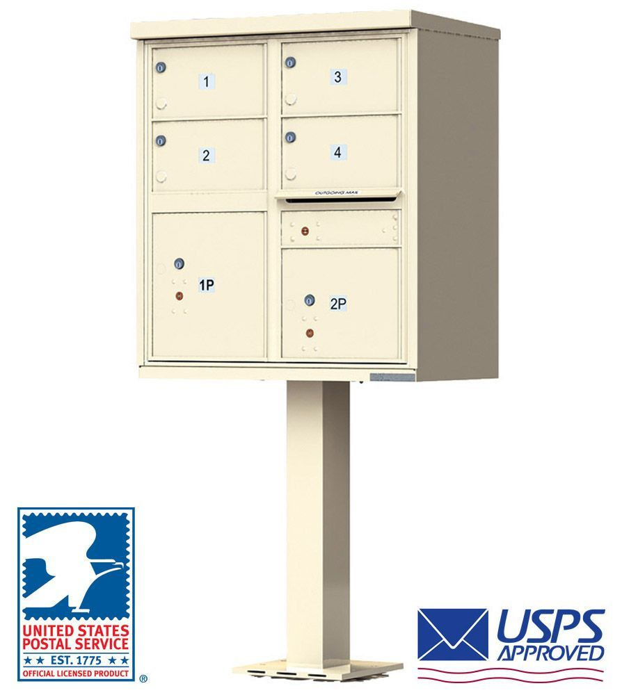 4 Oversized Doors Cluster Mailbox (Pedestal Included) by Florence - USPS Approved