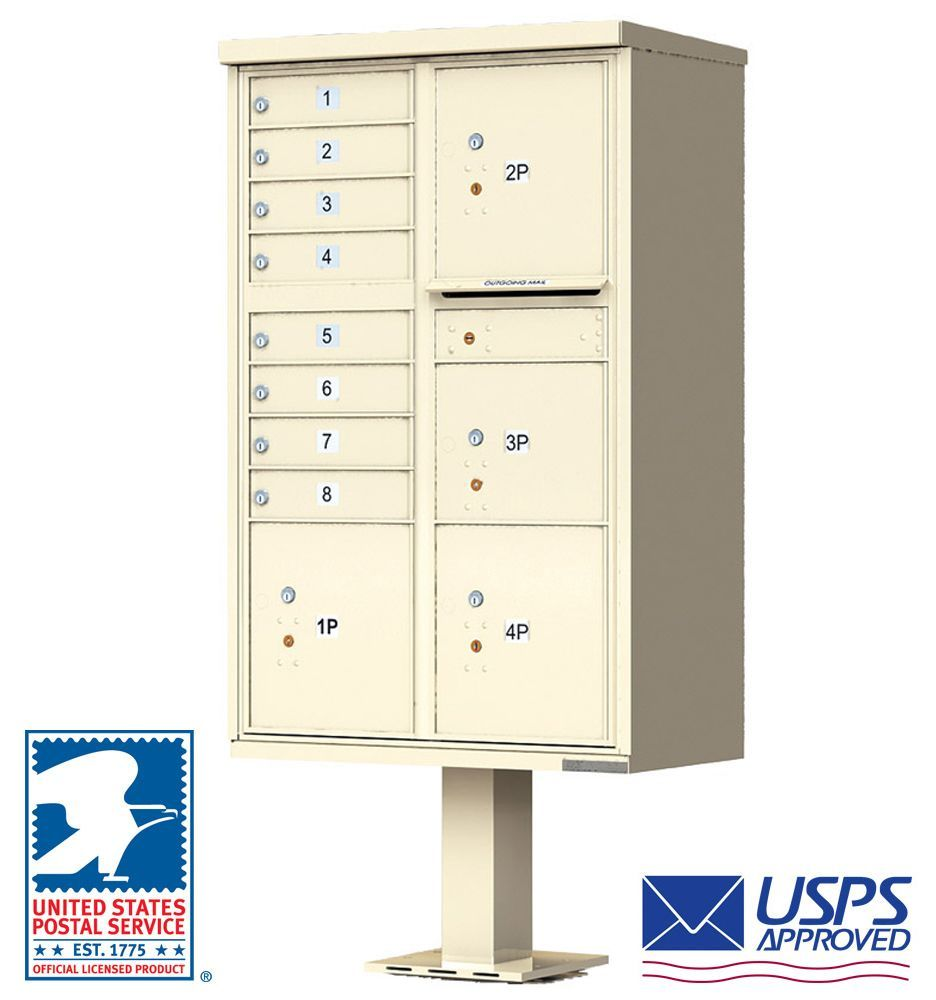 8 Door Cluster Mailbox with 4 Parcel Lockers - USPS Approved (Includes Pedestal)