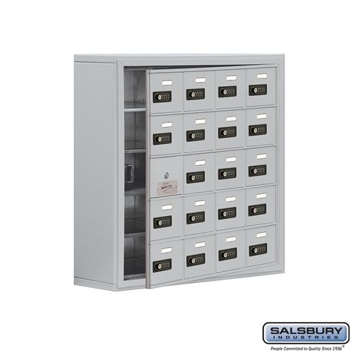 Cell Phone Storage Locker - with Front Access Panel - 5 Door High Unit (8 Inch Deep Compartments) - 20 A Doors (19 usable) - Surface Mounted - Resettable Combination Locks