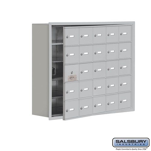 Cell Phone Storage Locker - with Front Access Panel - 5 Door High Unit (8 Inch Deep Compartments) - 25 A Doors (24 usable) - Recessed Mounted - Master Keyed Locks