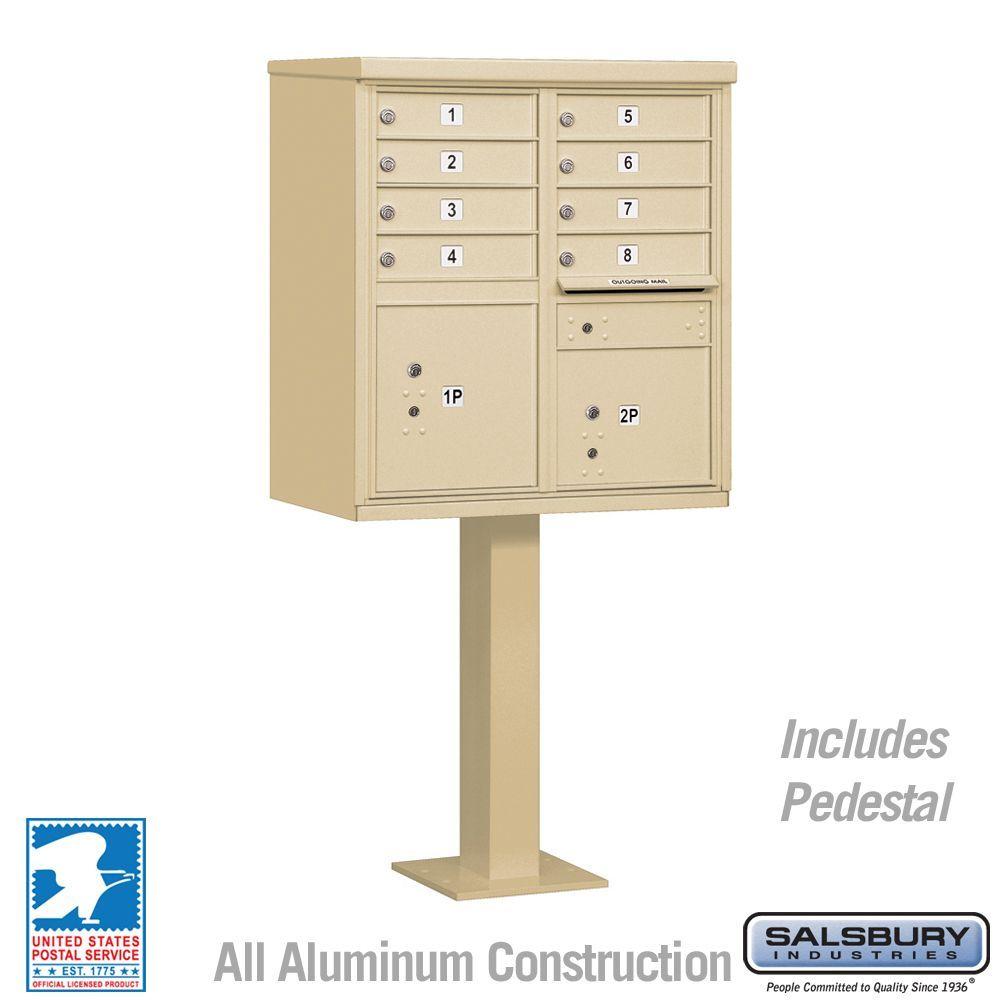 Salsbury 3308-U 8 Door Cluster Mailbox - USPS Approved (Includes Pedestal)