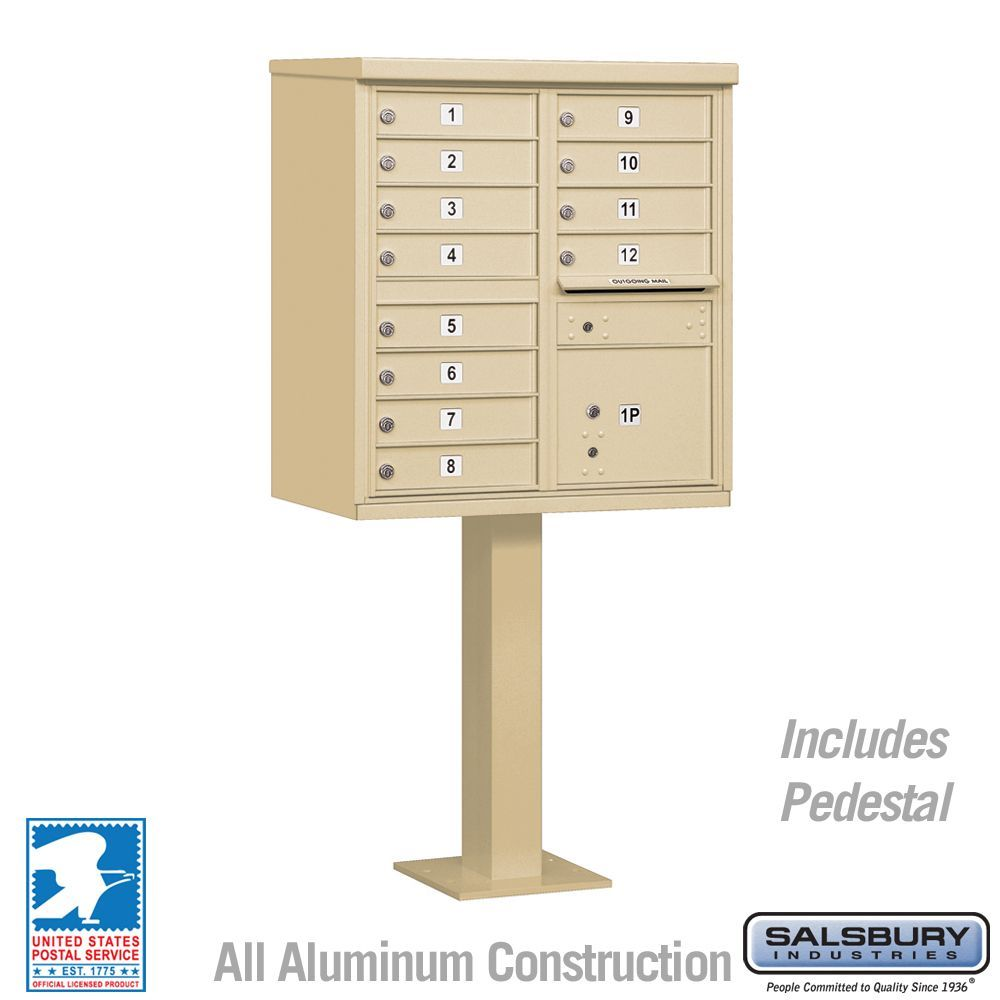 Salsbury 3312-U 12 Door Cluster Mailbox - USPS Approved (Includes Pedestal)