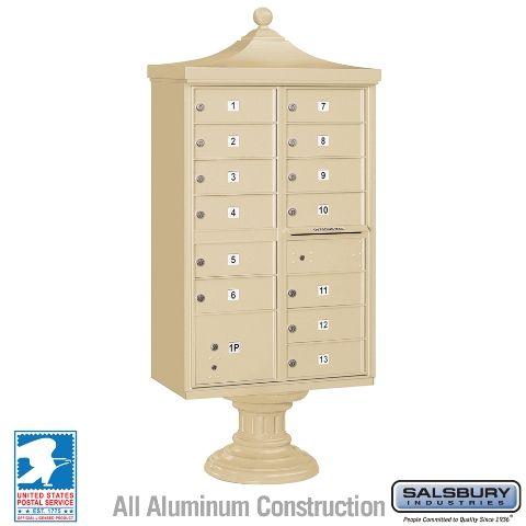 Salsbury 3313R-U 13 Door Regency Decorative Cluster Mailbox - USPS Approved (Includes Pedestal)