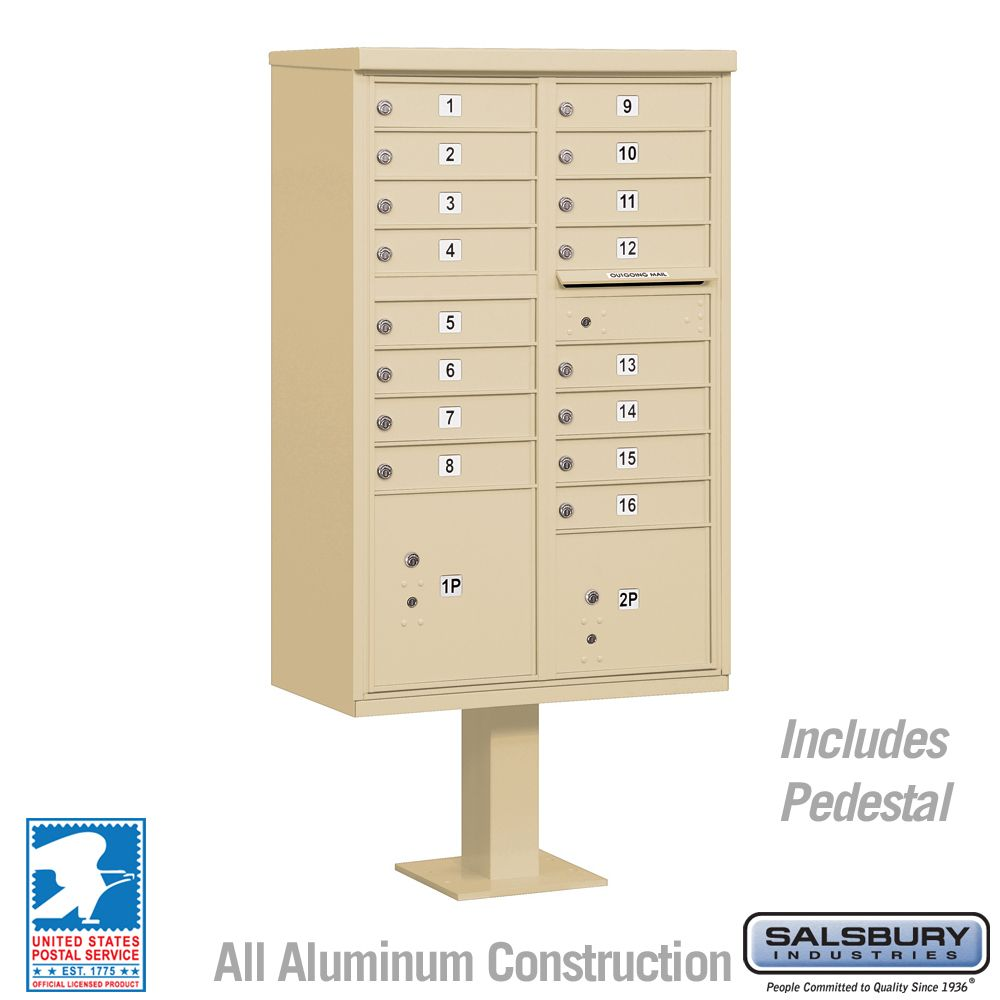 Salsbury 3316-U 16 Door Cluster Mailbox - USPS Approved (Includes Pedestal)