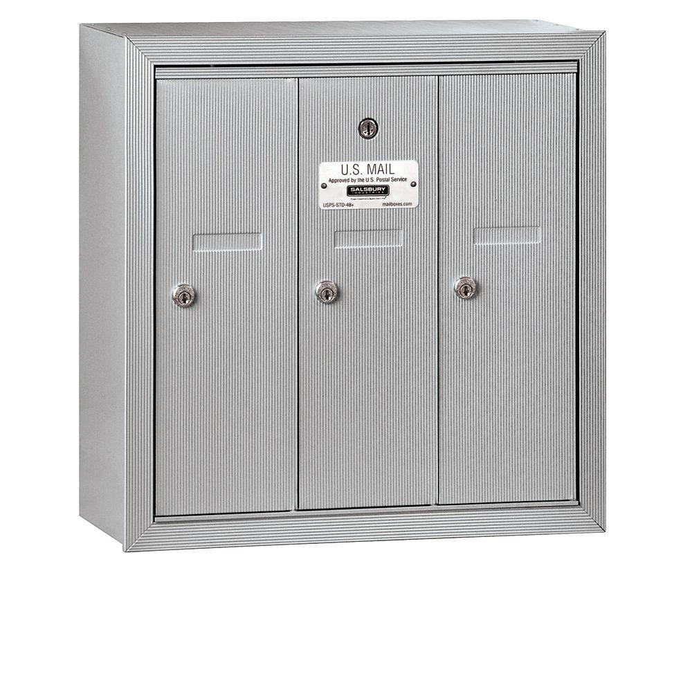 Salsbury 3503SU 3 Door Vertical Mailbox Surface Mounted USPS Access