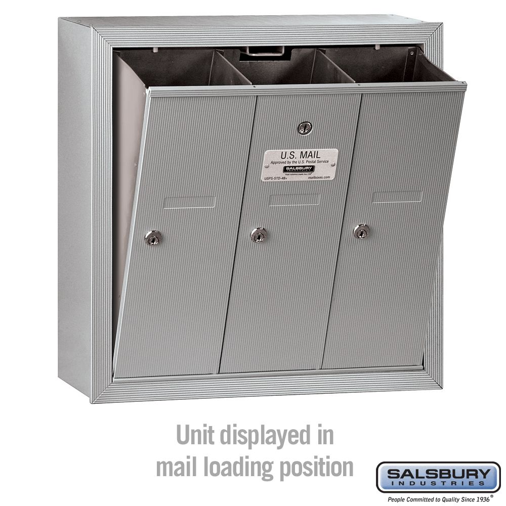 Salsbury Industries 3908S-03AFU 4C Free Standing Horizontal Single Column Aluminum Mailbox USPS Access 3 MB2 Doors Front Loading