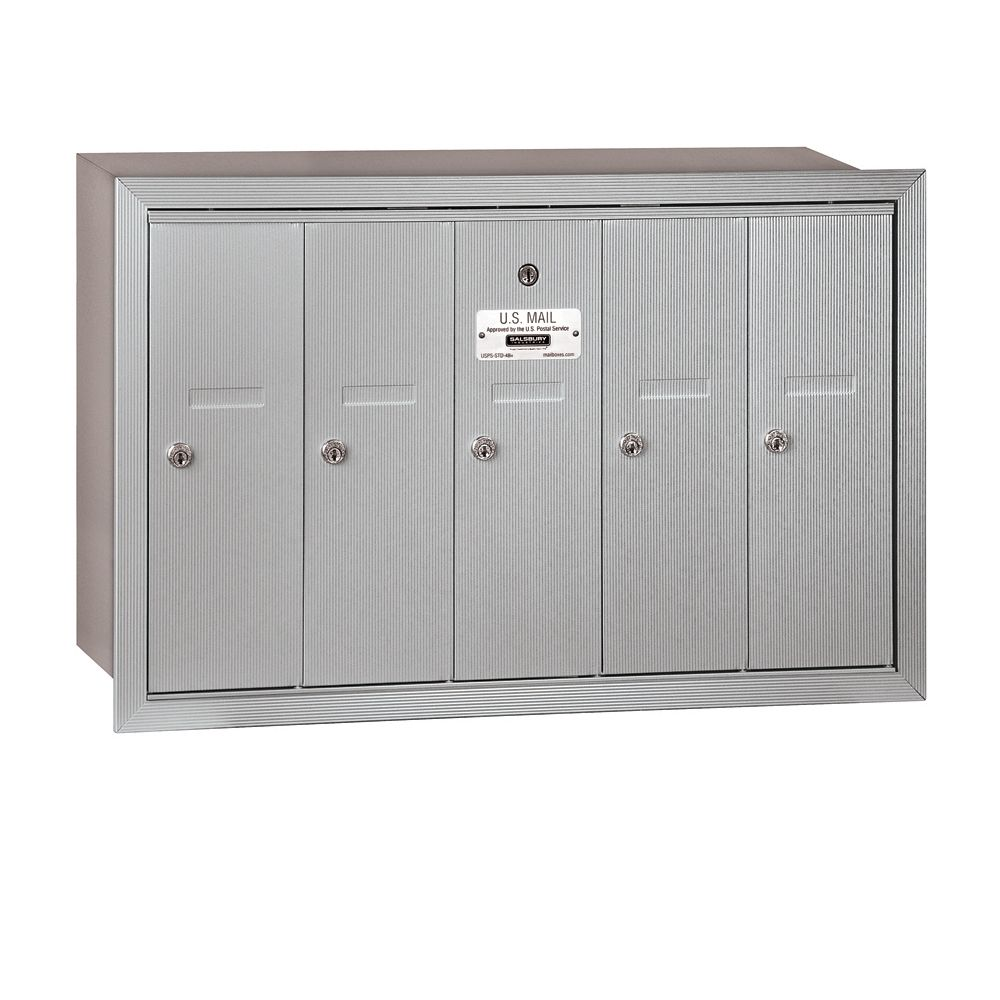 Salsbury 3505RU 5 Door Vertical Mailbox Finish Recessed Mounted USPS Access