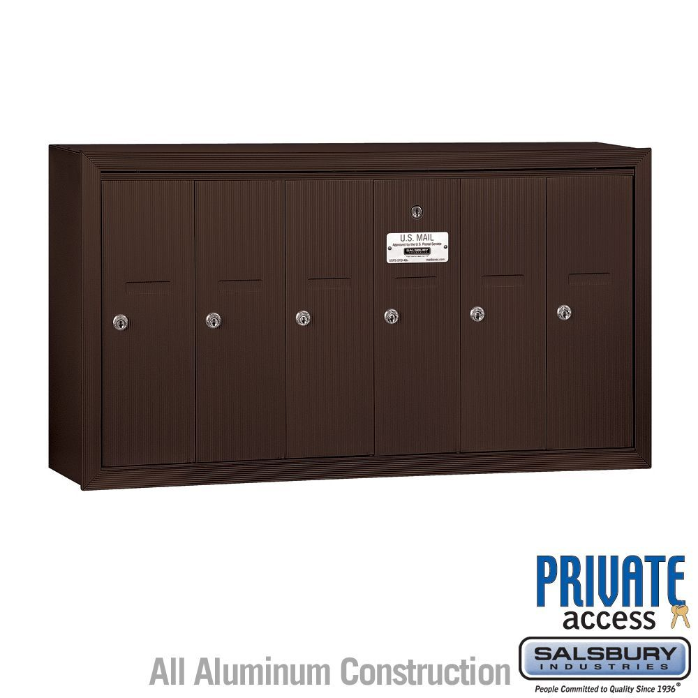 Salsbury 3506SP Vertical Mailbox - 6 Doors - Bronze - Surface Mounted - Private Access